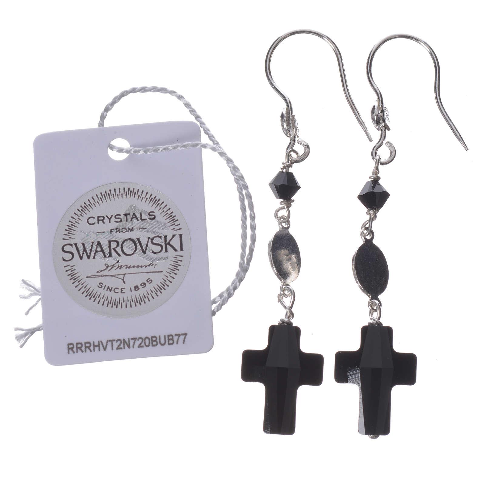 Boucles d'oreilles argent 800 et Swarovski noir Lourdes 4