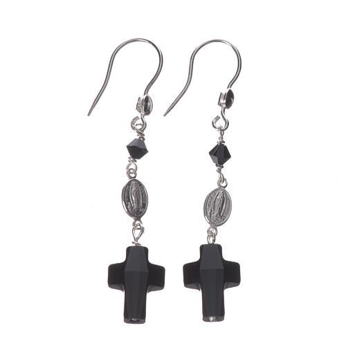 Boucles d'oreilles argent 800 et Swarovski noir Lourdes 1