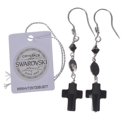 Boucles d'oreilles argent 800 et Swarovski noir Lourdes 2