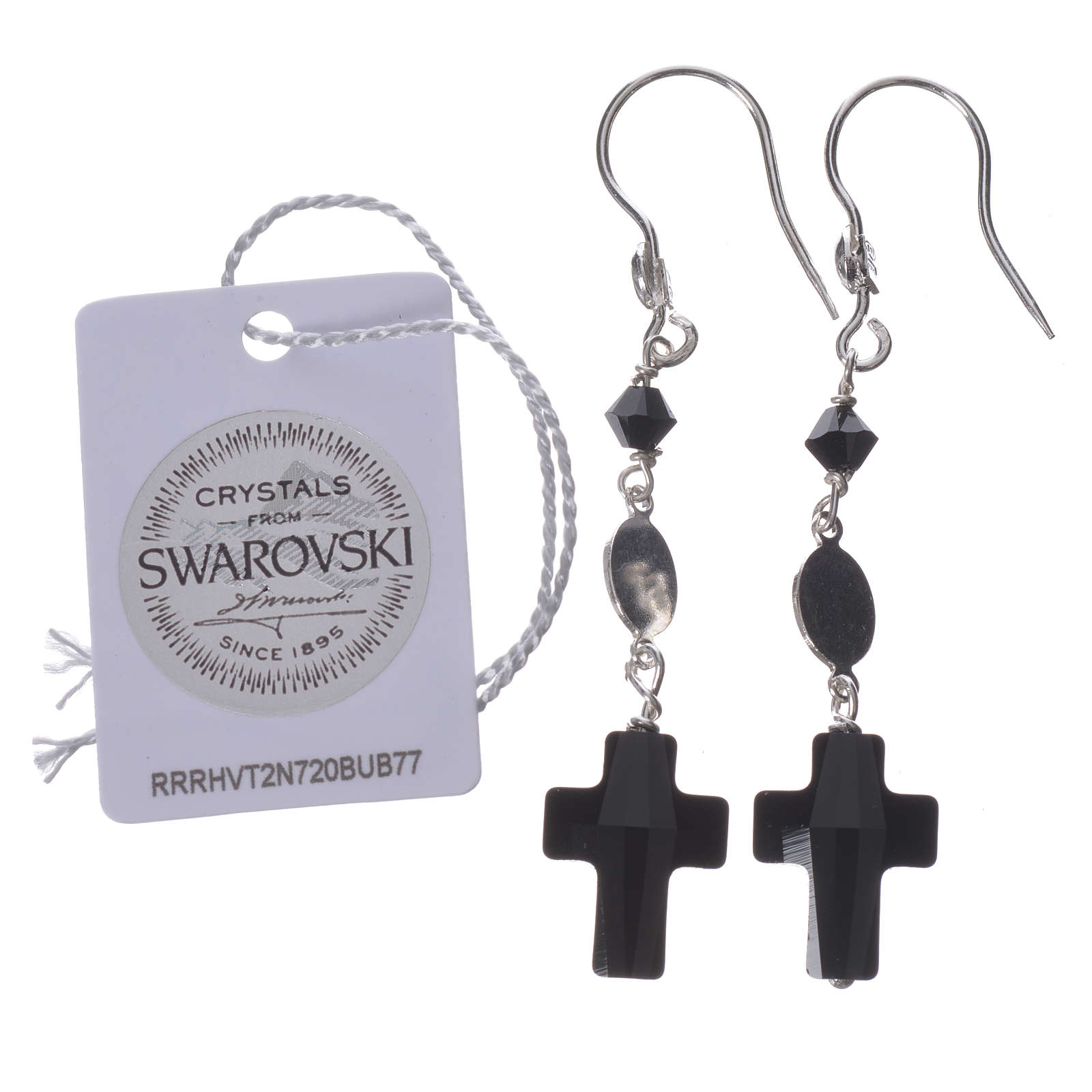 Earrings in 800 silver and Swarowski with Lourdes medal, black 4