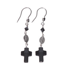 Earrings in 800 silver and Swarowski with Lourdes medal, black s1