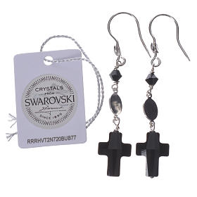 Earrings in 800 silver and Swarowski with Lourdes medal, black s2