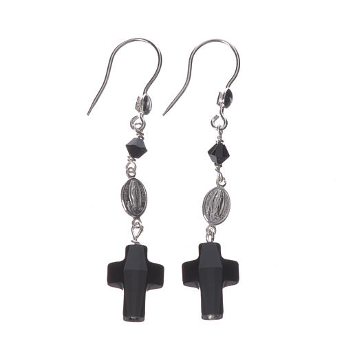 Earrings in 800 silver and Swarowski with Lourdes medal, black 1