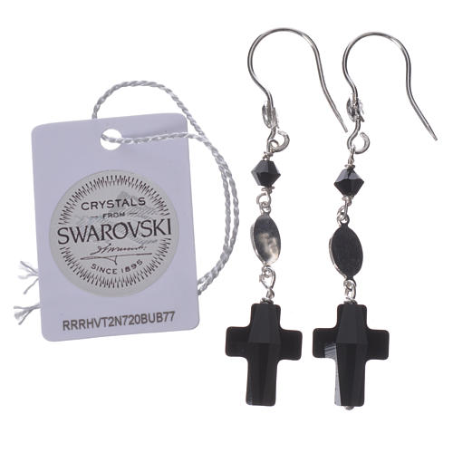 Earrings in 800 silver and Swarowski with Lourdes medal, black 2