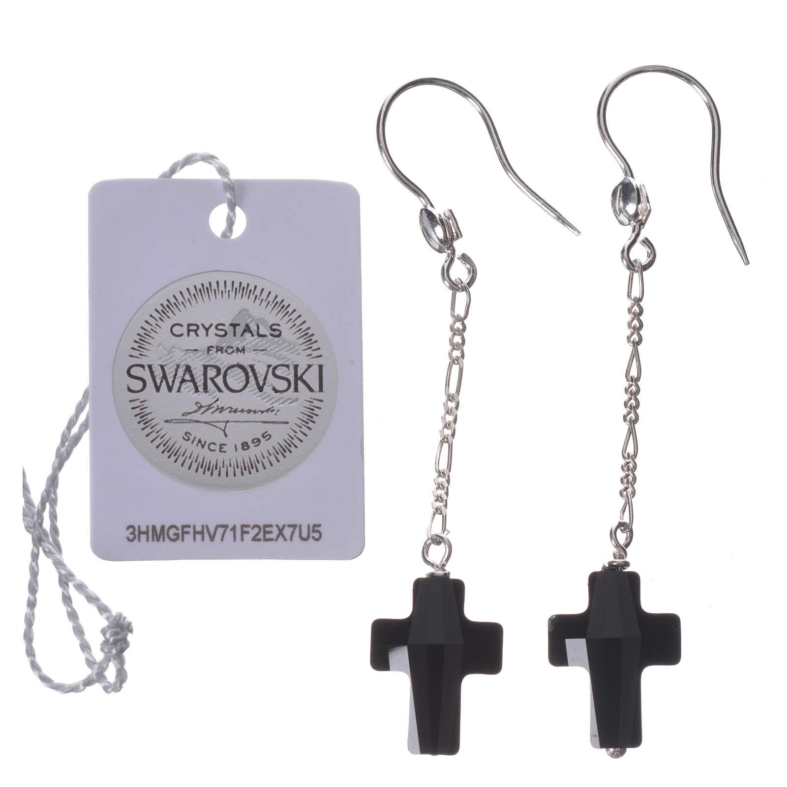 Boucles d'oreilles argent 800 croix Swarovski noir 4