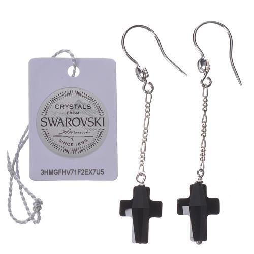 Boucles d'oreilles argent 800 croix Swarovski noir 2