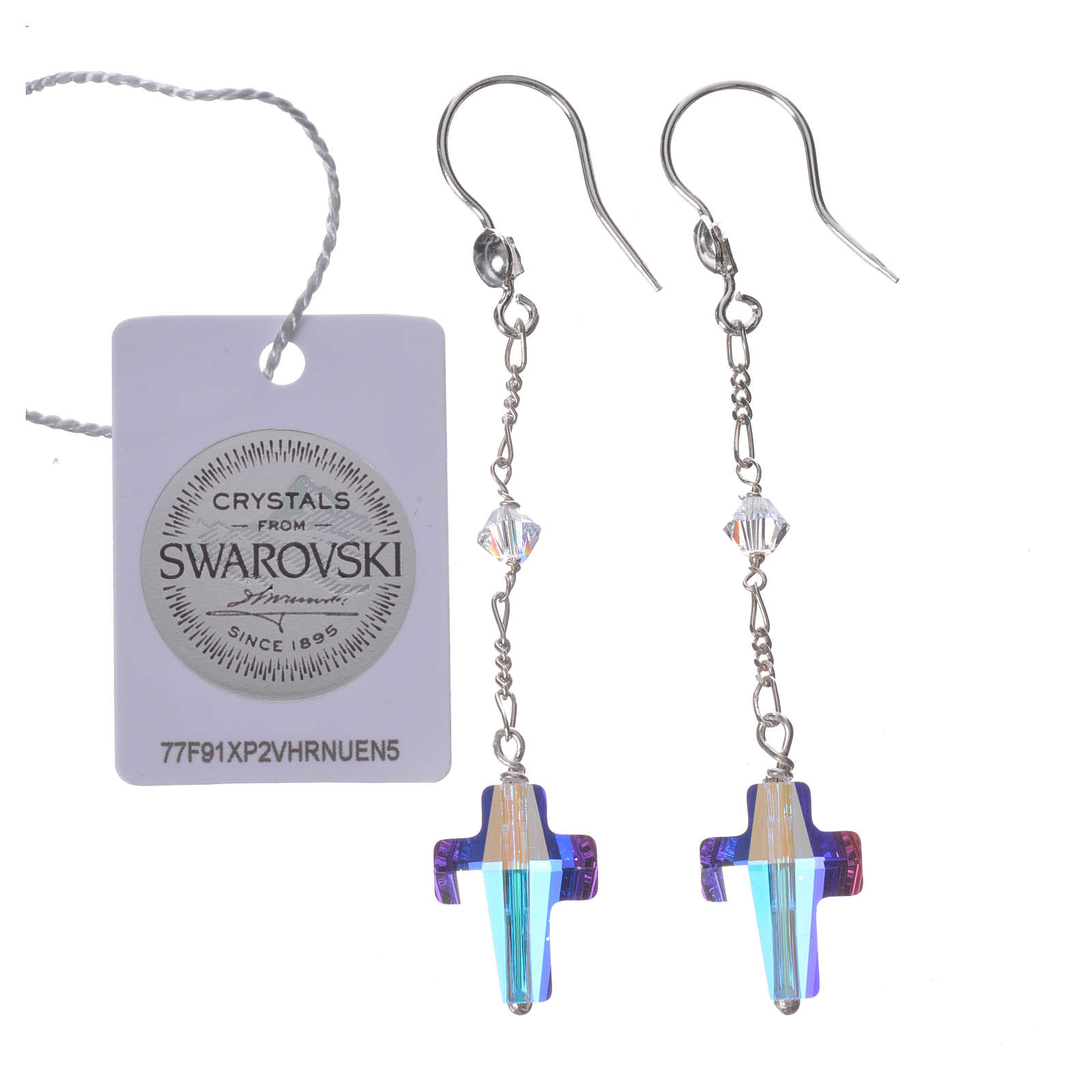 Earrings in 925 silver with cross and white Swarowski 4