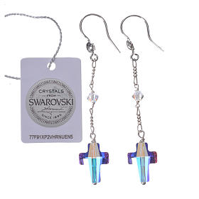 Earrings in 925 silver with cross and white Swarowski s2
