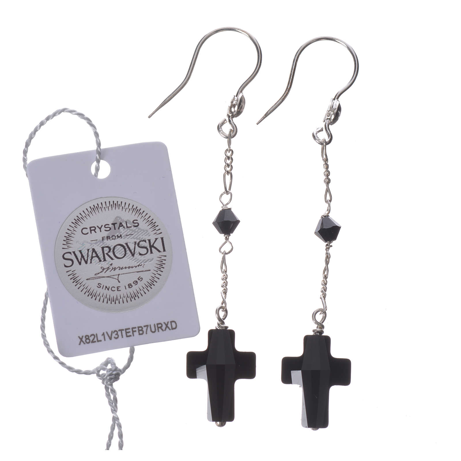 Earrings in 800 silver with cross and bead in black Swarowski 4