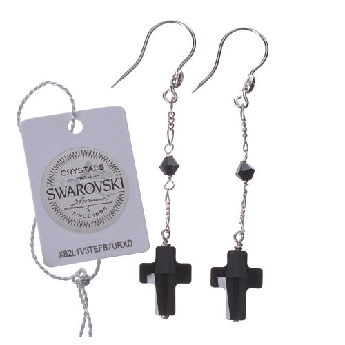 Earrings in 800 silver with cross and bead in black Swarowski 2