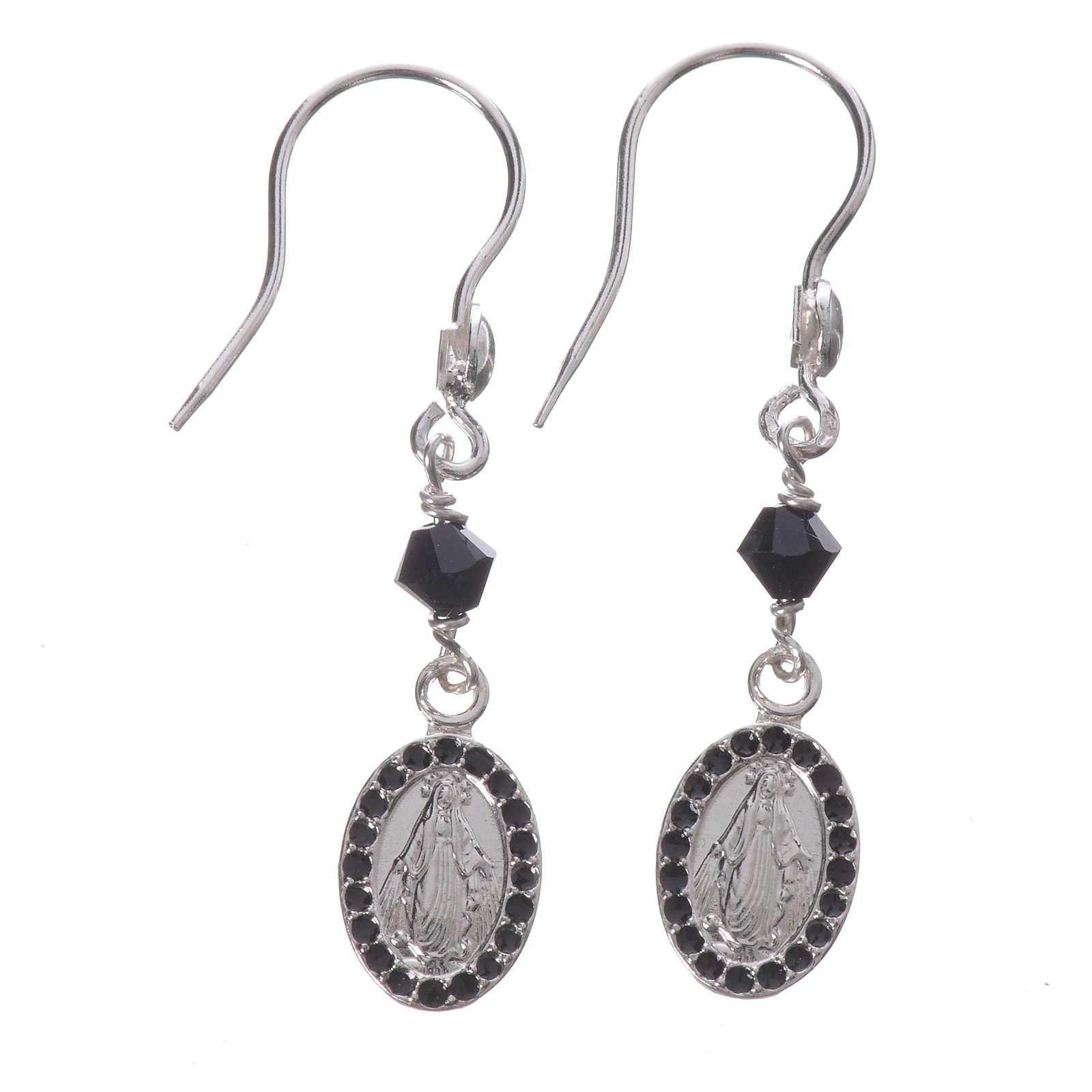 Earrings in 925 silver with Miraculous Medal in black 4
