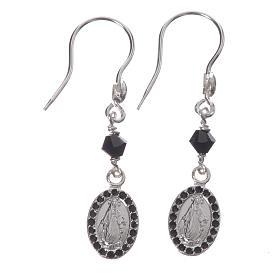 Earrings in 925 silver with Miraculous Medal in black s1