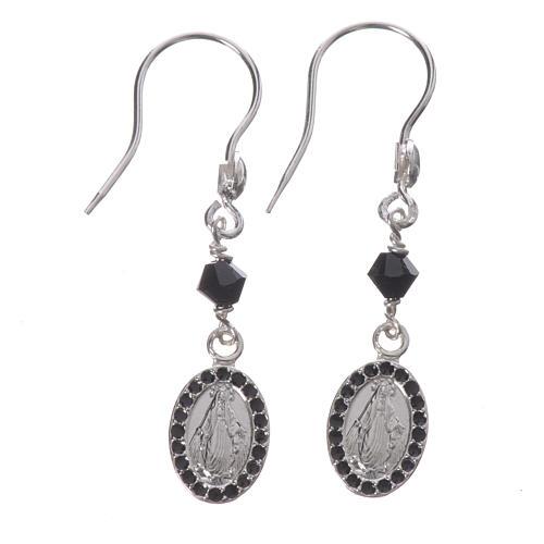 Earrings in 925 silver with Miraculous Medal in black 1