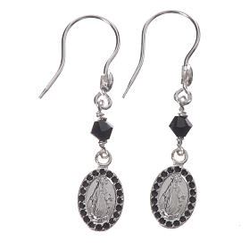 Earrings in 925 silver with Miraculous Medal in black s1
