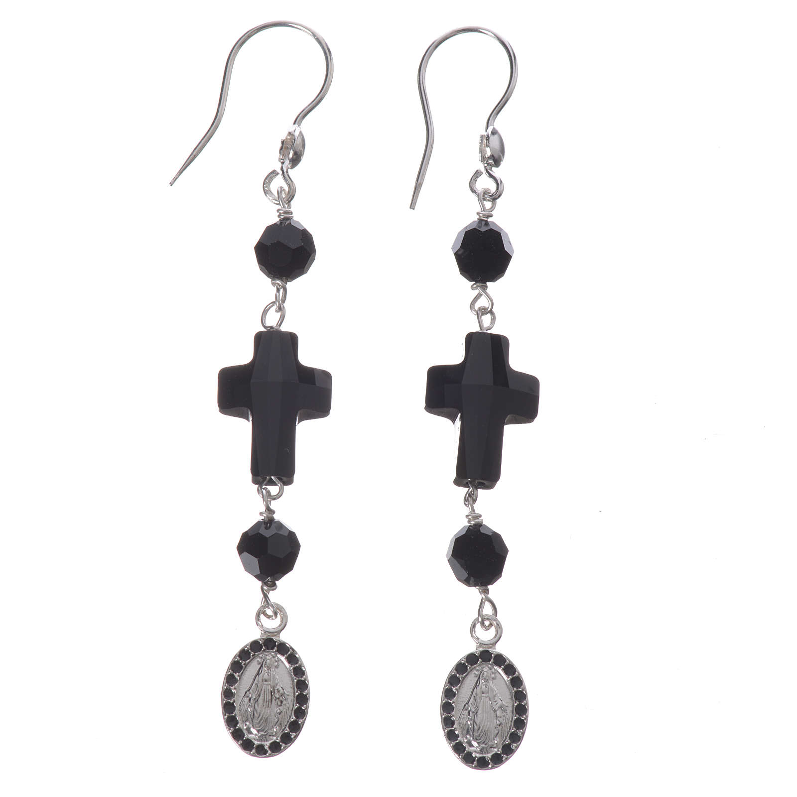 Earrings with cross and Miraculous Medal made of 925 silver 4