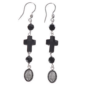 Earrings with cross and Miraculous Medal made of 925 silver s1