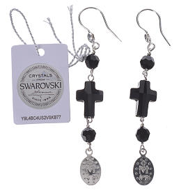 Earrings with cross and Miraculous Medal made of 925 silver s2