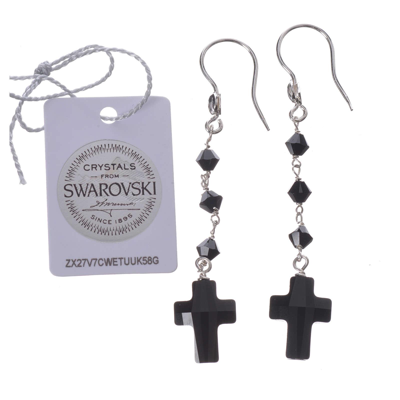 Boucles argent 800 et Swarovski noir 4