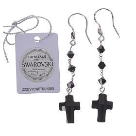 Boucles argent 800 et Swarovski noir s2
