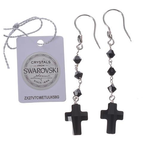 Boucles argent 800 et Swarovski noir 2