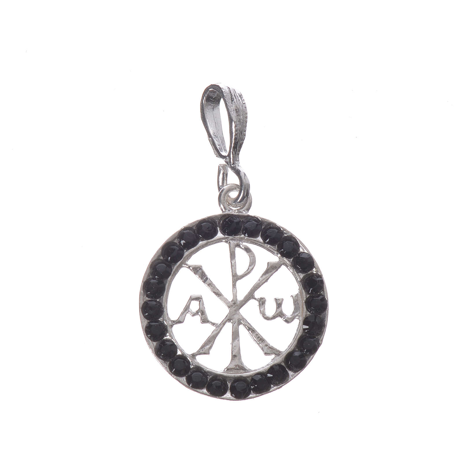 Pendant charm in 800 silver and black Swarowski crystal 4