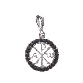 Pendant charm in 800 silver and black Swarowski crystal s1