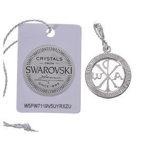 Pendentif argent 800 et Swarovski noir s2