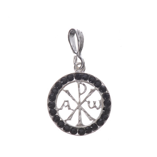 Pendant charm in 800 silver and black Swarowski crystal 1