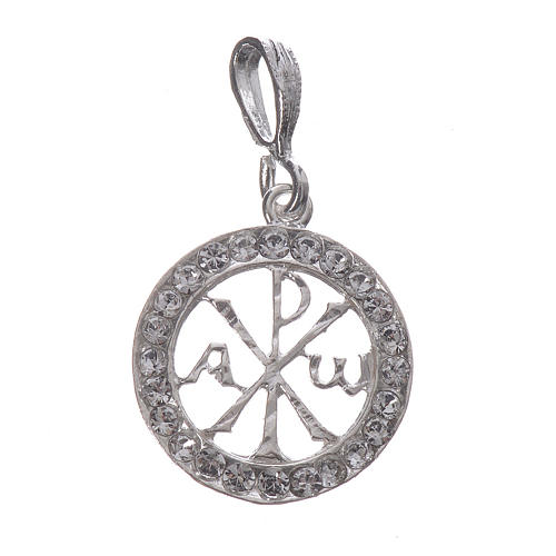Pendant charm in 925 silver and white Swarowski crystal 1