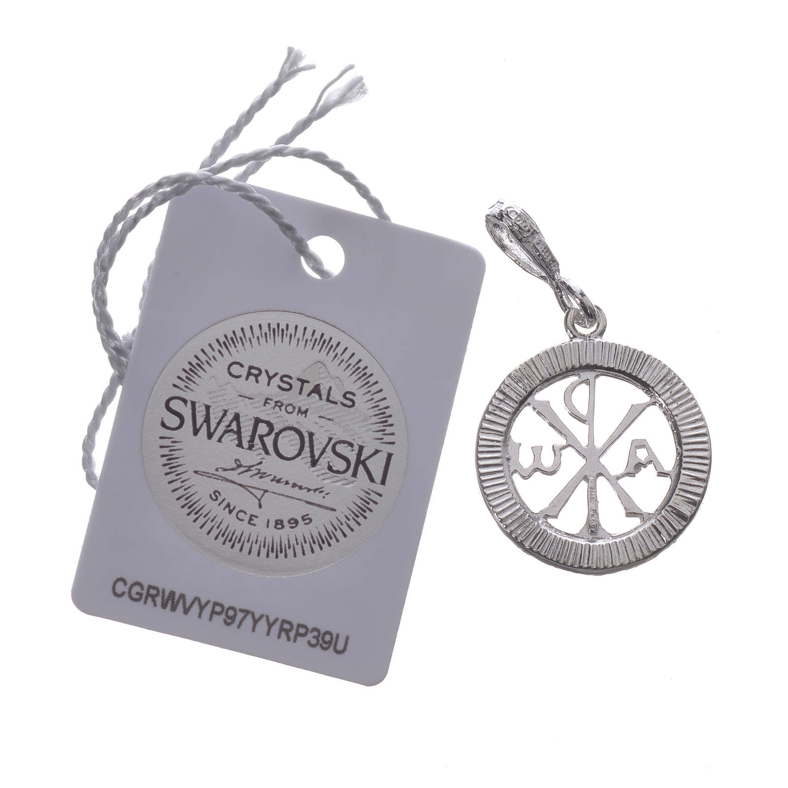 Pendant charm in 925 silver and white Swarowski crystal 4