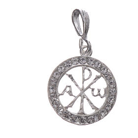Pendant charm in 925 silver and white Swarowski crystal s3