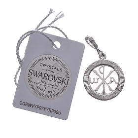 Pendant charm in 925 silver and white Swarowski crystal s4