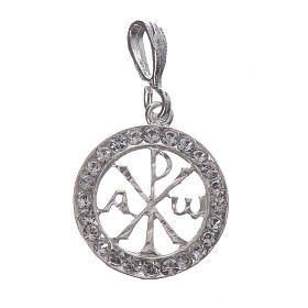 Pendant charm in 925 silver and white Swarowski crystal s1