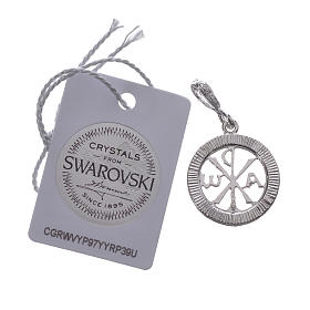 Pendant charm in 925 silver and white Swarowski crystal s2