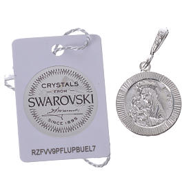 Pendant charm in 925 silver and black Swarowski with Pax symbol s2