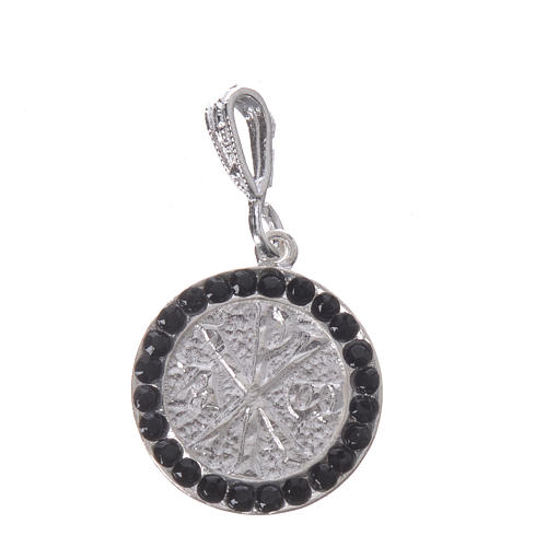 Pendant charm in 925 silver and black Swarowski with Pax symbol 1