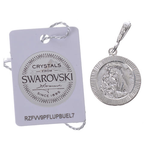 Pendant charm in 925 silver and black Swarowski with Pax symbol 2