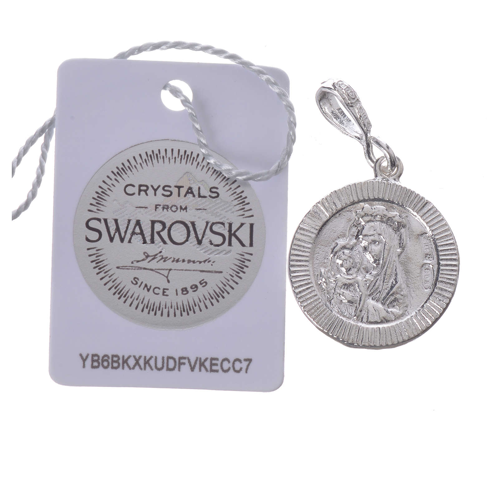Pendant charm in 800 silver and white Swarowski with Pax symbol 4