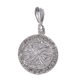 Pendant charm in 800 silver and white Swarowski with Pax symbol s1
