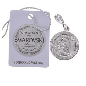 Pendant charm in 800 silver and white Swarowski with Pax symbol s2