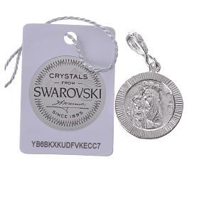 Pingente prata 800 e Swarovski branco Chi-Rho s2