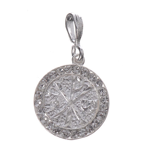 Pendant charm in 800 silver and white Swarowski with Pax symbol 1
