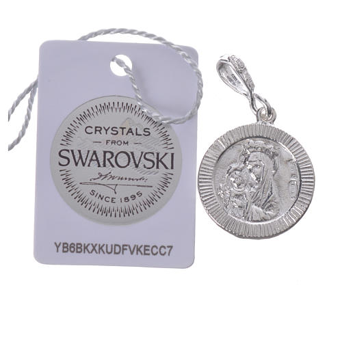 Pendant charm in 800 silver and white Swarowski with Pax symbol 2