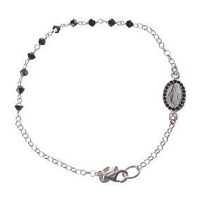 Bracelet dizainier arg. 800 Swarovski noir 3mm s1