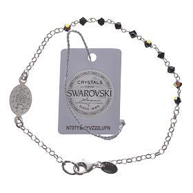 Bracelet dizainier arg. 800 Swarovski noir 3mm s2