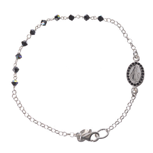 Bracelet dizainier arg. 800 Swarovski noir 3mm 1