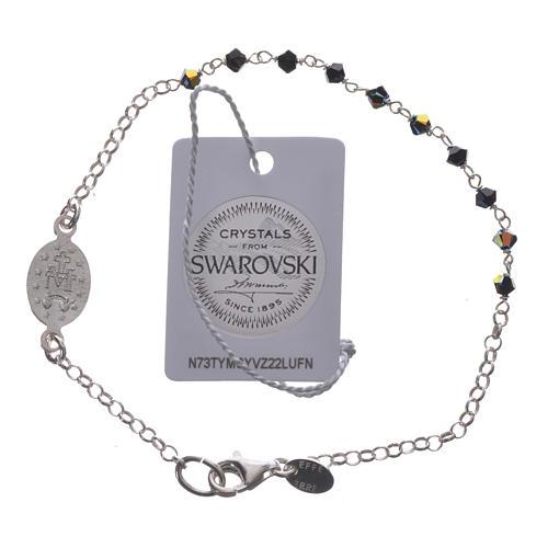 Bracelet dizainier arg. 800 Swarovski noir 3mm 2