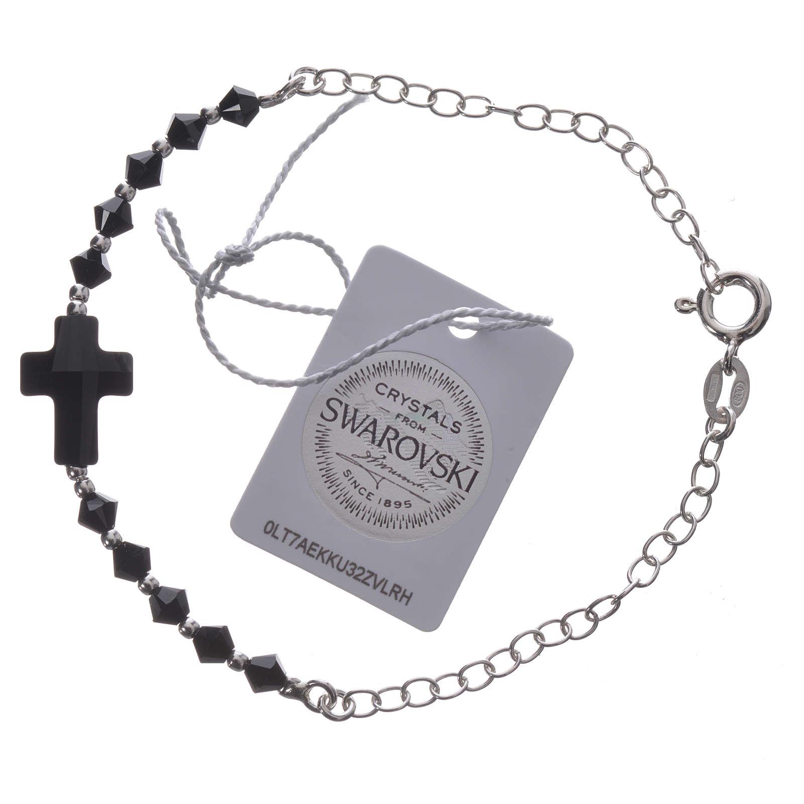 Bracelet arg. 800 croix Swarovski noir grains 4mm 4