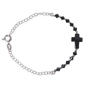 Bracelet arg. 800 croix Swarovski noir grains 4mm s1
