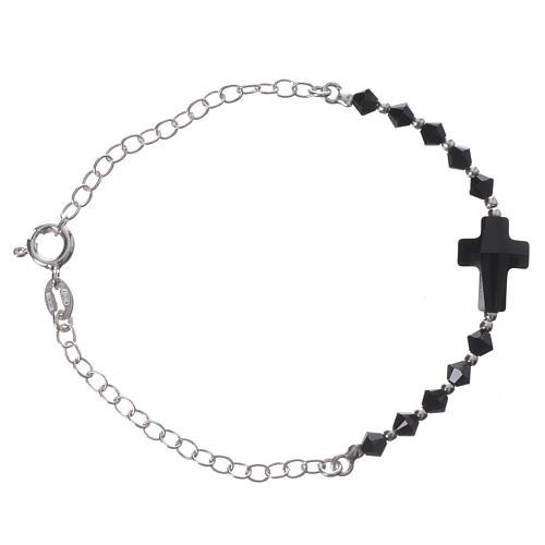 Bracelet arg. 800 croix Swarovski noir grains 4mm 1